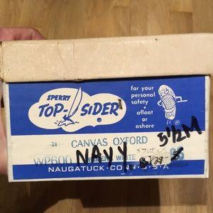 Vintage NIB canvas Oxford  navy Top-Siders